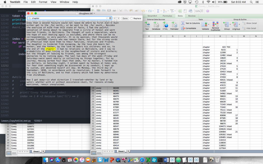 "Myriad windows as I check the  occurrences of the word ""chapter"" with Python, TextEdit, and Excel open."