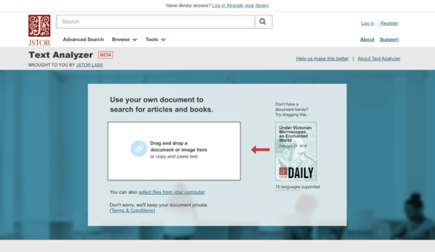 JSTOR Text Analyzer home page