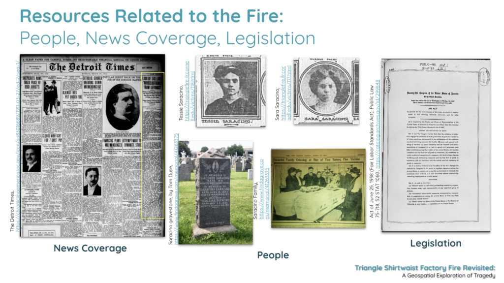 Resources related to the fire including images of people news coverage and legislation